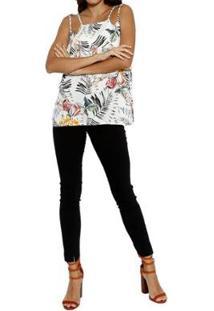 Blusa Energia Fashion Estampada Plano Feminina - Feminino-Off White