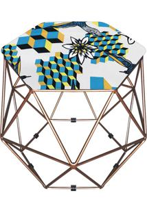 Puff D'Rossi Decorativo Aramado Geométrico Hexágono D23 Base Dourada