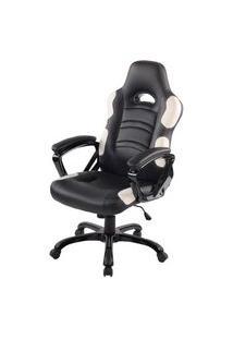 Cadeira Office Station Em Courino Preto E Branco - 53508 Preto E Branco