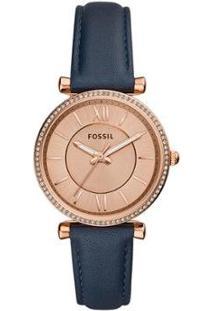 Relógio Fossil Carlie Feminino - Feminino-Azul