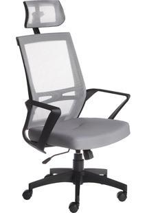 Cadeira Presidente Office Brasil Cadeiras Com Encosto Cabeça Cinza