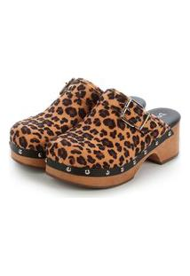 Tamanco Mule Clog Plataforma Cindy Damannu Shoes Animal Print Onça