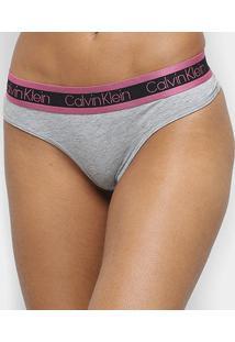 Calcinha Calvin Klein Fio Dental Cotton Cooling - Feminino-Mescla