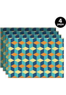 Jogo Americano Mdecore Geométrico 40X28Cm Azul 4Pçs