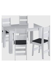 Conjunto Mesa Fixa 4 Cadeiras Branco Móveis Cançáo