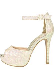 Sandália Salto Alto Week Shoes Meia Pata Tela Glitter Furtacor Dourado