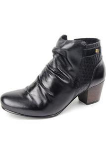 Ankle Boot Couro Sapatofran Slouch Perlatto Feminina - Feminino-Preto