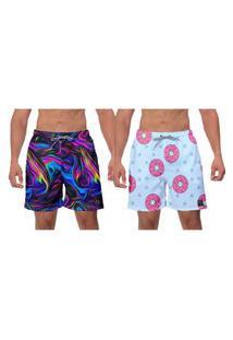 Kit 2 Shorts Moda Praia Rosquinha Azul Psicodelic Roxo Estampado Masculino Poliéster Elastano Surf Banho W2