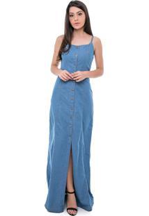 Vestido jeans longo frente unica