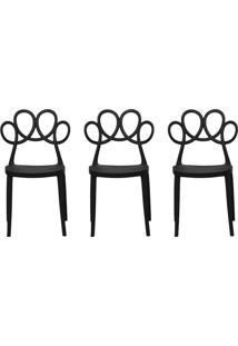 Kit 03 Cadeiras Decorativas Para Cozinha Laço Preto - Gran Belo - Tricae