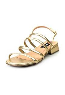 Sandália Saltinho Baixo Love Shoes Tiras Metalizadas Fashion Dourado