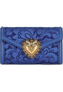 Dolce & Gabbana Porta-Moedas Com Placa De Logo E Recorte De Renda - Azul