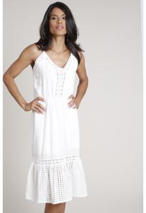Vestido Feminino Midi Com Laise E Guipir Alça Fina Off White