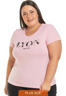 Blusa Estampada Com Detalhes Em Flor Rosa