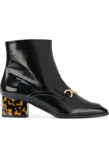Stella Mccartney Ankle Boot Com Salto Contrastante - Preto
