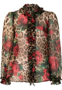 Dolce & Gabbana Blusa Com Babados E Mix De Estampas - Estampado