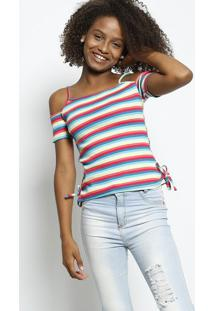 Blusa Canelada Listrada - Rosa & Azul Claro - Enfimenfim
