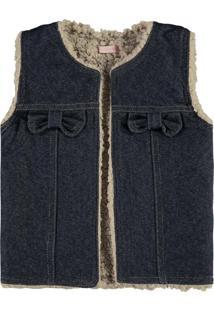 Colete Dupla Face Em Malha Açucena Jeans Escuro - Tricae