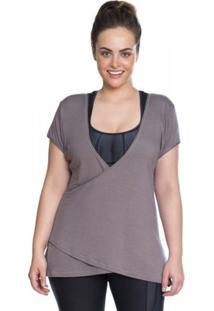 Blusa Transpasse Marcyn Plus Size - Feminino-Cinza