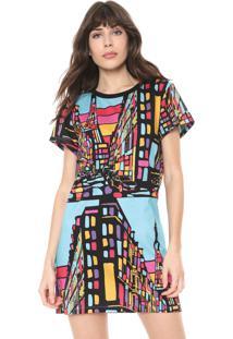 Vestido Triton Curto Color Block Preto/Rosa