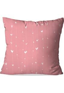 Capa De Almofada Avulsa Decorativa Coração Rosa