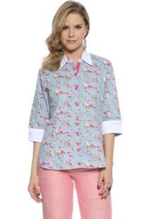 Camisa Moché Estampa Floral - Feminino-Azul
