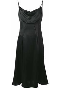 Versace Vestido Drapeado - Preto