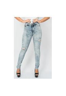 Calça Feminina Spot Destroyed Emporio Alex Jeans Azul