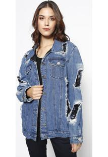 Casaco Jeans Com Paetês - Azul & Preto - Lebôhlebôh