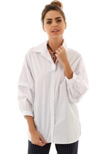 Camisa Aha Tricoline Com Manga Volumosa Branca