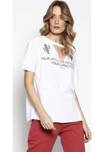 Camiseta Com Cactos Bordados - Branca & Verde - Sommsommer