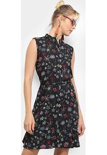 Vestido Heli Evasê Floral - Feminino-Preto