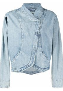 Isabel Marant Jaqueta Jeans Transpassado Com Efeito Desbotado - Azul