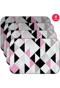 Jogo Americano Love Decor Wevans Triângulos Kit Com 4 Pçs
