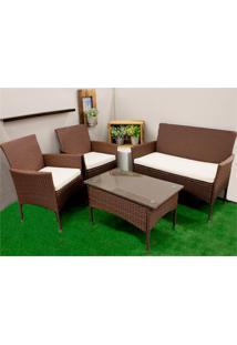 Conjunto De Cadeiras E Mesa Em Fibra Sintética Com 4 Peças Marrom