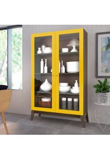 Cristaleira Com 2 Portas De Vidro Retrô Fosco/Brilho – Genialflex - Demolição / Amarelo