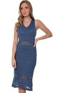 Vestido Midi Rosa Helena Tricot Lille Feminino - Feminino-Azul