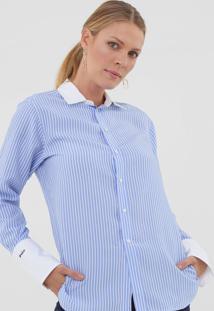 Camisa Seda Polo Ralph Lauren Listrada Azul