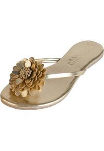 Rasteirinha Mercedita Shoes Conforto Flor Feminina - Feminino-Dourado