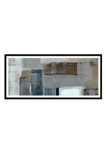 Quadro Com Moldura Chanfrada Abstrato Cinza E Bege 50X115