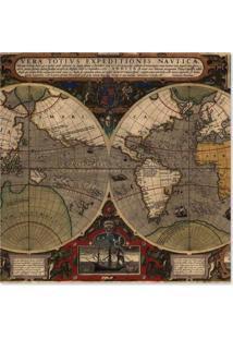 Quadro Mapa Mundi Uniart Marrom 45X45Cm