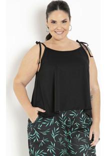 Blusa Preta Com Alças Para Amarrar Plus Size