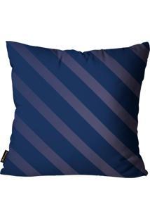 Capa Para Almofada Premium Cetim Mdecore Listrada Azul Marinho 45X45Cm Azul