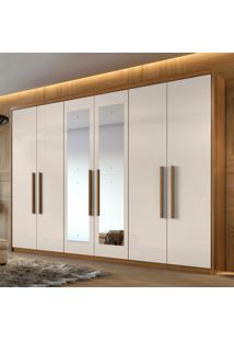 Guarda Roupa Casal Com Espelho 6 Portas Aries Móveis Lopas Rovere Naturale/Off White