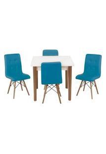 Conjunto Mesa De Jantar Luiza 80Cm Brconjunto Mesa De Jantar Luiza 80Cm Branca Com 4 Cadeiras Gomos - Tuanca Com 4 Cadeiras Gomos Pé Escuro - Turquesa