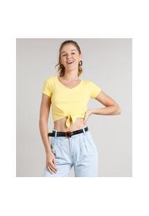 Blusa Feminina Cropped Canelada Com Nó Manga Curta Decote V Amarelo
