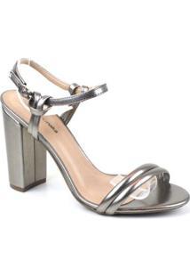 Sandália Emporionaka Metalizado Feminina - Feminino-Prata
