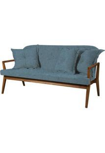 Sofa Siesta Azul Base E Bracos Madeira Natural 3 Lugares - 50431 - Sun House