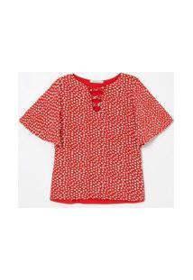 Blusa Manga Curta Estampada Com Decote V Trançado | Cortelle | Vermelho | G