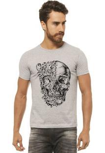 Camiseta Joss - Caveira Duas Caras - Masculina - Masculino-Mescla